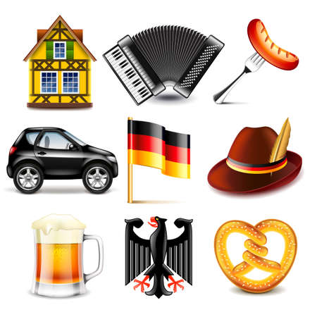photo realistic: Germany icons detailed photo realistic vector set Illustration