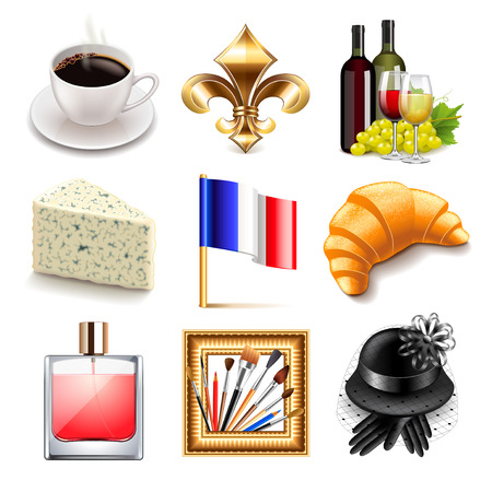 french wine: France icons detailed photo realistic vector set