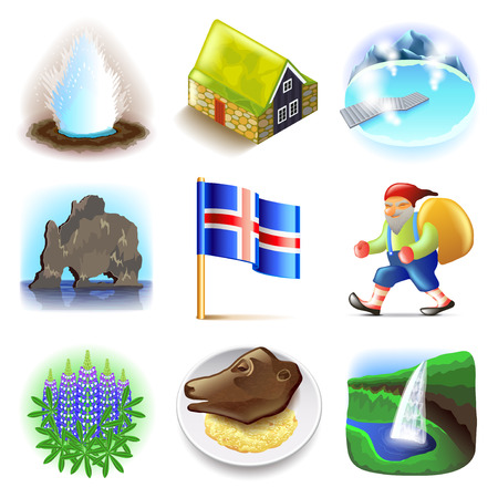 moss: Iceland icons detailed photo realistic vector set
