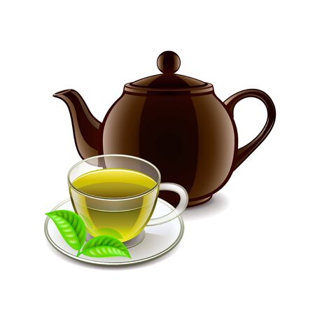 oolong: Chinese green tea isolated on white photo-realistic illustration