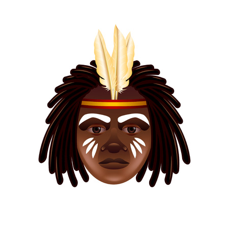 photorealistic: Australian aborigine face isolated on white photo-realistic illustration