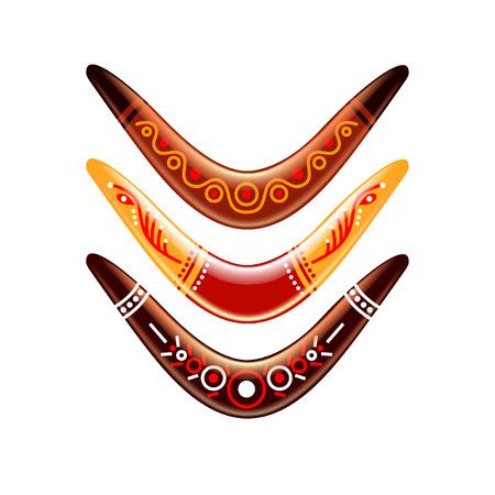 photorealistic: Boomerang design isolated on white photo-realistic illustration