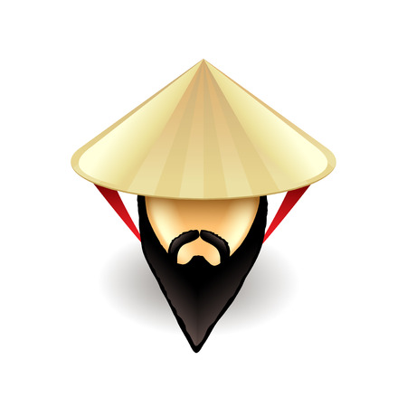 conical hat: Man in chinese conical hat isolated on white illustration