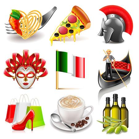 photo realistic: Italy icons detailed photo realistic set