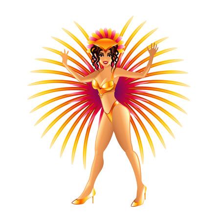 carnival girl: Brazilian carnival girl isolated on white photo-realistic illustration