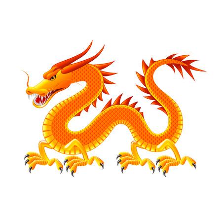 Chinese draak die op wit foto-realistische illustratie