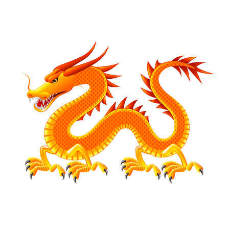 Chinese dragon isolated on white photo-realistic illustration