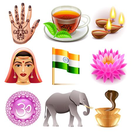 photo realistic: India icons detailed photo realistic set