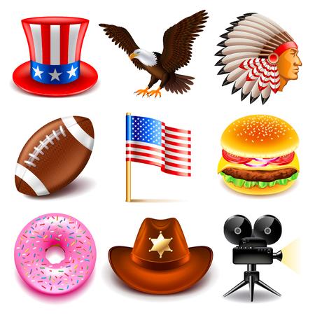 photo realistic: USA icons detailed photo realistic set