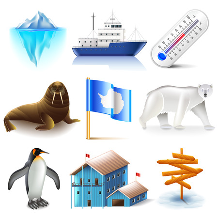 Antarctica icons detailed photo realistic set
