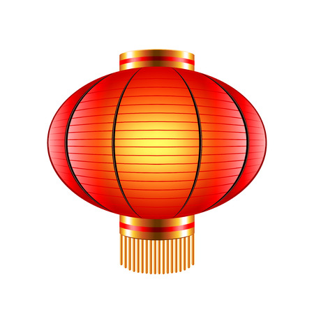 lantern festival: Chinese lantern isolated on white photo-realistic illustration