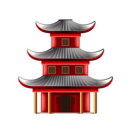 temple chinois isolé sur la photo-réaliste blanc illustration Vecteurs