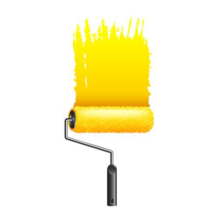 Gele verf roller geïsoleerd op een witte foto-realistische vectorillustratie Vector Illustratie