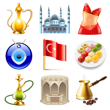 pot belly: Turkey travel icons detailed photo realistic vector set
