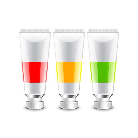 photorealistic: Oil paint tubes isolated on white photo-realistic vector illustration Illustration