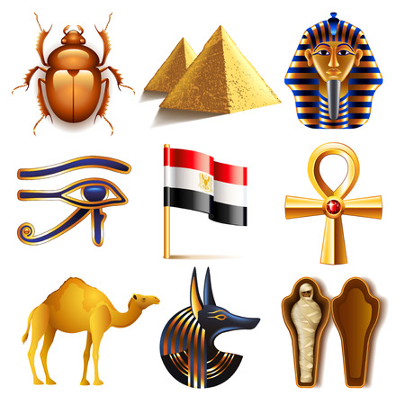 mummified: Egypt icons detailed photo realistic vector set