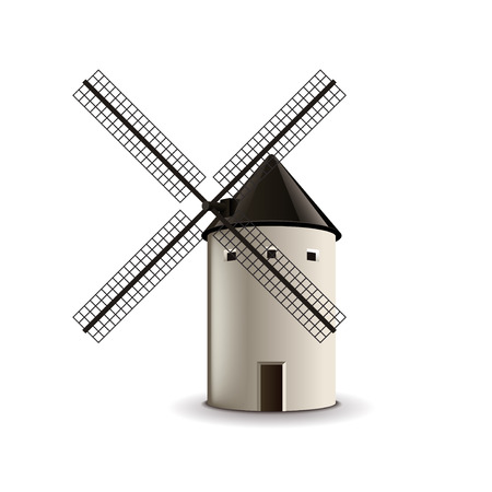 photorealistic: Windmill isolated on white photo-realistic vector illustration