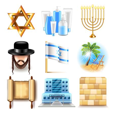 Israele icone foto dettagliate realistico vector set Vettoriali