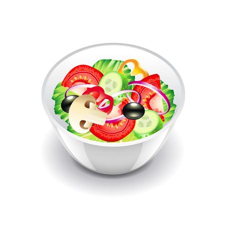 salad bowl: Vegetables salad isolated on white photo-realistic vector illustration