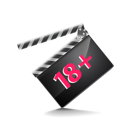 only adults: Clapper board adults only isolated on white photo-realistic vector illustration Illustration
