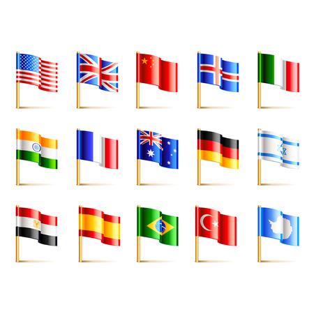 banderas del mundo: Mundo banderas de países iconos conjunto de vectores detallada Vectores