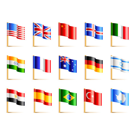 flags of the world: World countries flags icons detailed vector set