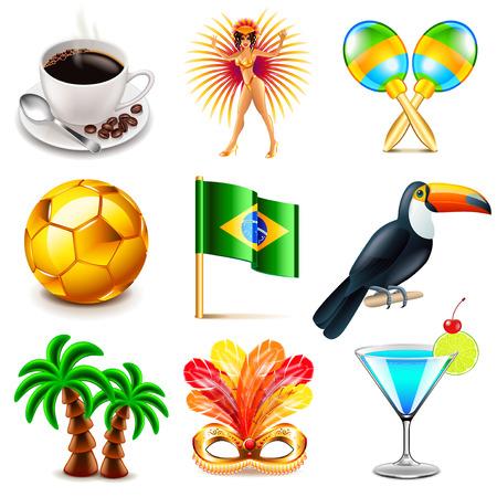 maracas: Brazil icons detailed photo realistic vector set