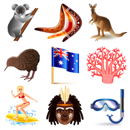Australia icons detailed photo realistic vector set Illustration