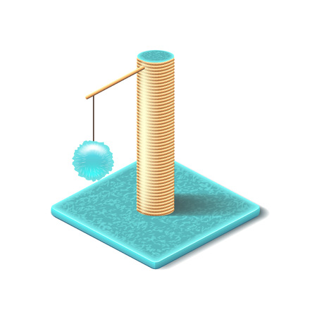 cat toy: Scratching posts isolated on white photo-realistic vector illustration