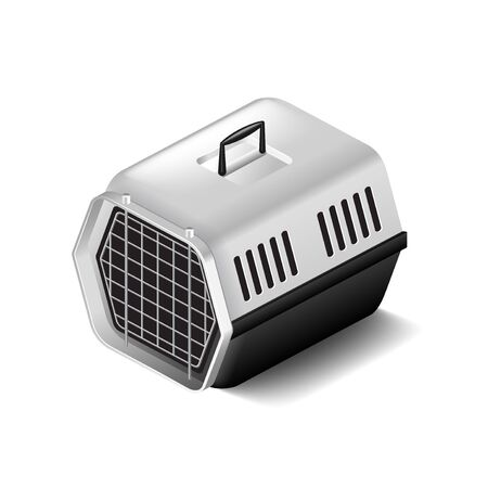 cat carrier: Cat carrier isolated on white photo-realistic vector illustration