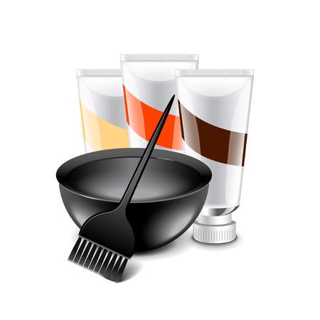 tinte de cabello: herramientas de tintes para el cabello aislado en blanco ilustración vectorial foto-realista