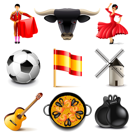 spanish bull: Spain icons detailed photo realistic vector set