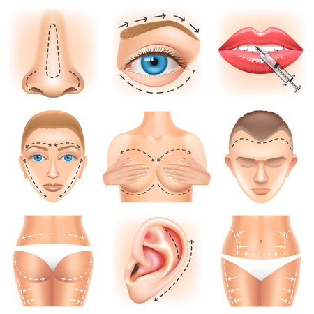 Plastic surgery icons detailed photo realistic vector set
