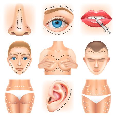 Icone di chirurgia plastica dettagliate set di vettore realistico Vettoriali