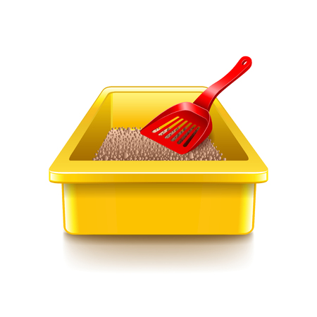 litter: Cat litter tray isolated on white photo-realistic vector illustration Illustration