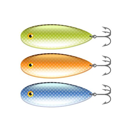 Spoon-bait isolated on white photo-realistic vector illustration