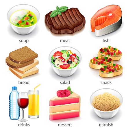 Food types icons detailed photo realistic vector set Illustration