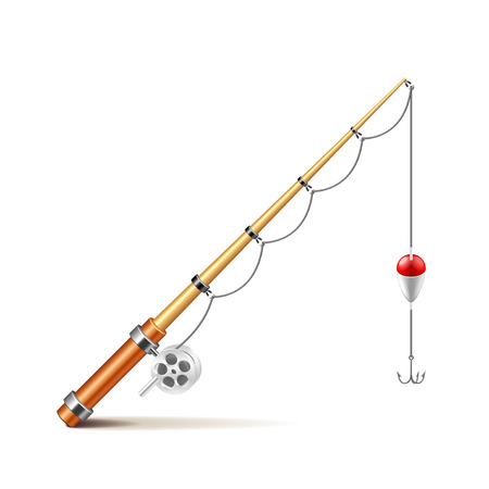 Fishing rod isolated on white photo-realistic vector illustration
