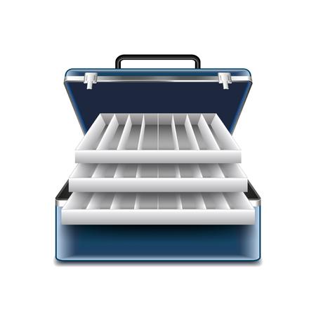Tackle box isolé sur la photo-réaliste blanc illustration vectorielle Vecteurs