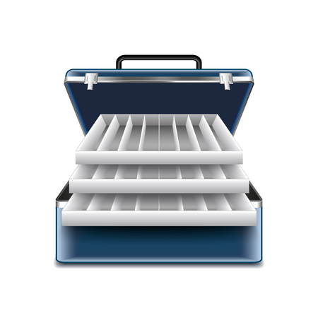 bait box: Tackle box isolated on white photo-realistic vector illustration