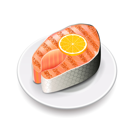 fish plate: Grilled salmon isolated on white photo-realistic vector illustration