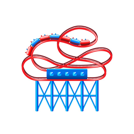 thrill: Roller coaster isolated on white vector illustration Illustration