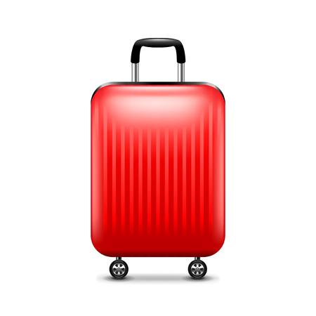 bagagli: bagaglio rosso isolato su bianco foto-realistica illustrazione vettoriale