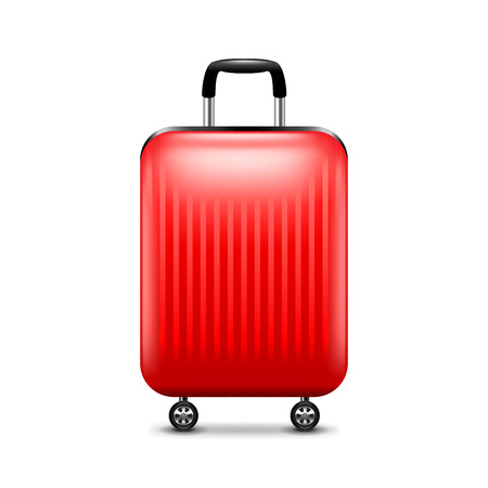 luggage airport: Red luggage isolated on white photo-realistic vector illustration