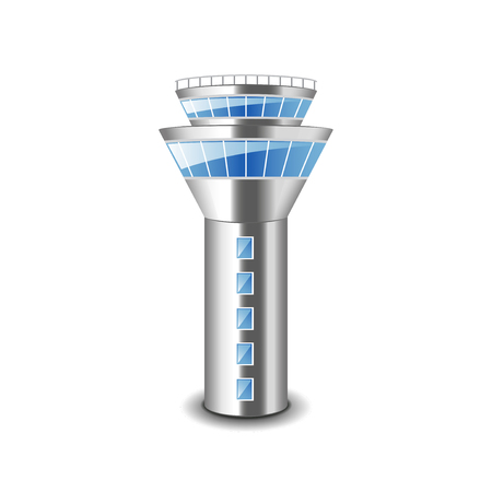 Tower control isolated on white photo-realistic vector illustration Stock Illustratie