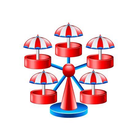 outdoor seating: Mini wheel carousel isolated on white vector illustration