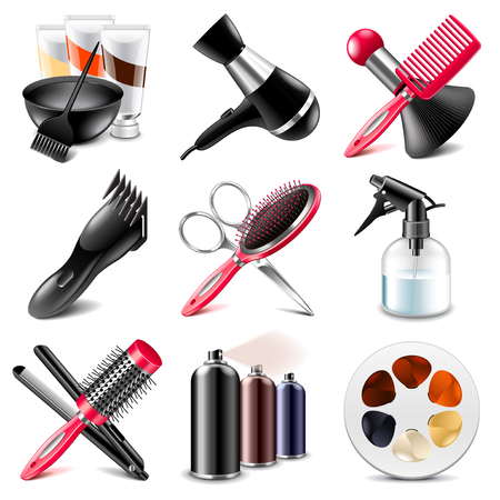 barbershop: Barbershop icons detailed photo realistic vector set