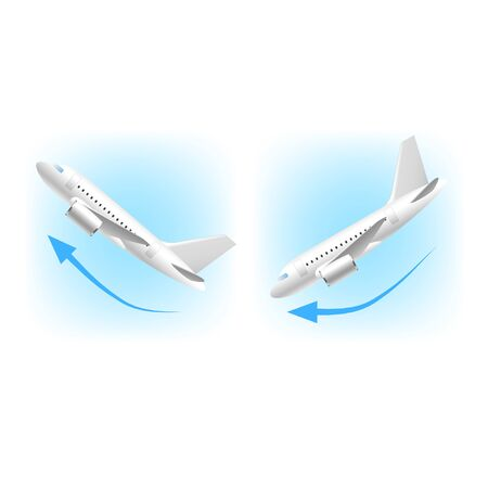 takeoff: Takeoff and landing icons isolated on white vector illustration