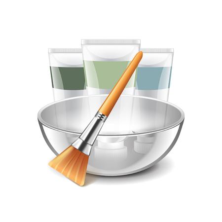 exfoliation: Face mask tools isolated on white photo-realistic illustration Illustration