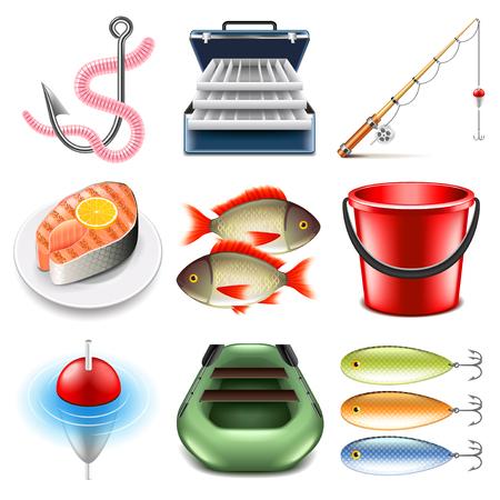 tackle box: Fishing icons detailed photo realistic set Illustration